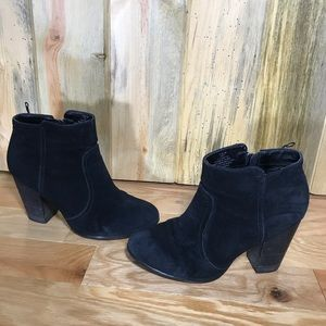 H&M black suede block heel booties 7